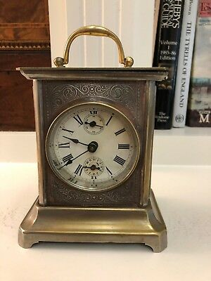 Antique Vintage Metal Carriage Clock With Alarm On Bell Shelf Mantle Working