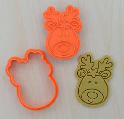 Deer Head Cookie Cutter and Stamp Set 102 - 3d printed plastic