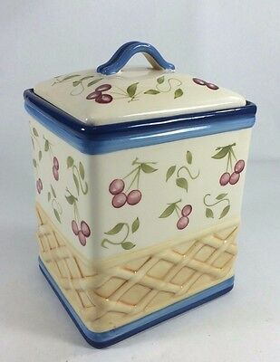 Canister/Cookie Jar, INSPIRADO StoneLife CLAY, Blue, Cherries, Basket, Air Seal