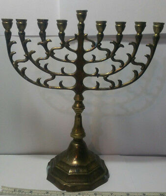 Vintage Brass 9 Candle Menorah. 9.75 Inches Wide x 11.2 Inches Tall. 27.5 OZ