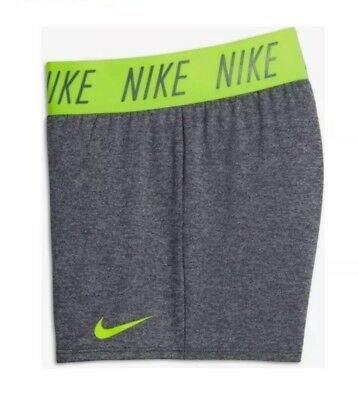NWT NIKE DRY Girls Size Large Gray Yellow Running Athletic Shorts