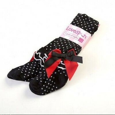 Lovespun Girls Baby Tights Size 0-6M Black Polka Dot Ruffled Ankle Bow Detail