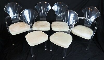 Set 6 Mid-Century Modern Lucite Dining Chairs White Cowhide Upholstery