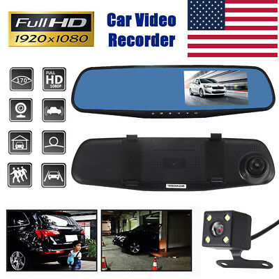 1080P HD Car DVR Rearview Dual Dash Cam Camera Vehicle Front Rear Video Recorder