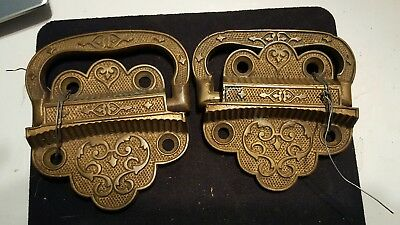 Pair of Fancy Antique 19th Century Cast Iron Tool Chest or Other Handles 1871