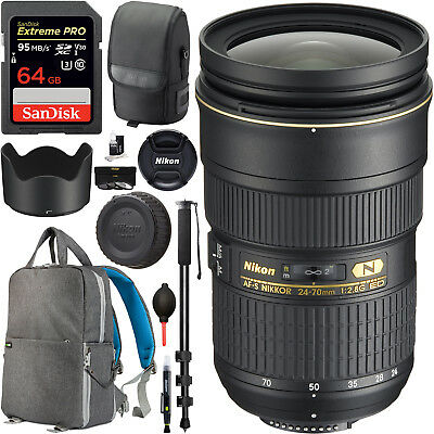 Nikon AF-S NIKKOR 24-70mm f/2.8E ED VR Zoom Lens (20052) Filter Backpack Bundle