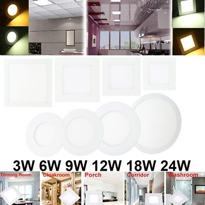 Slim 3W/6W/12W/18W/24W LED Recessed Ceiling Downlight Flat Panel Light Bulb Lamp