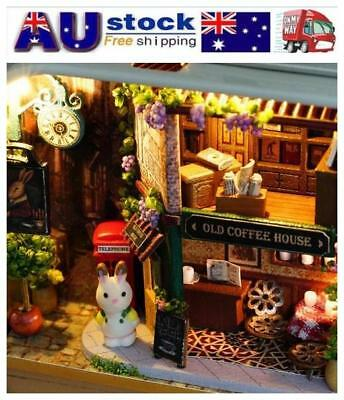 DIY Wooden Cottage Dollhouse Miniature Kit Dolls House W/ Furniture LED Light AU
