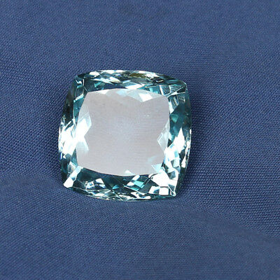 32.45 Ct. Natural Aquamarine Greenish Blue Color Square Cushion Loose Gemstone