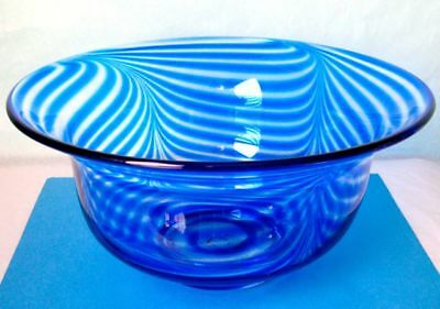 Bohemian Art Nouveau Hand Blown Art Glass Large Bowl