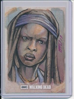 2017 Topps Walking Dead Season 7 Michonne Sketch by Brad Hudson