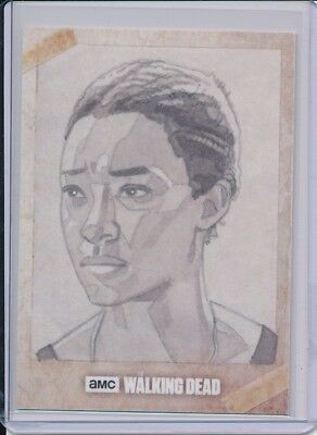 2017 Topps Walking Dead Season 7 Sasha Sketch by Robert Hendrickson