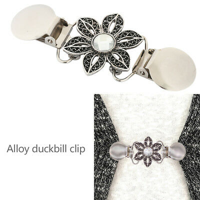 Sweater Collar Clip-Silver toned Flower Crystal-Cardigan-Shawl-Dress,Blouse-Vest