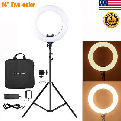 "14"" 360Pcs LED Dimmable 5600k Ring Light Kit+ Light Stand For Camera Photo Video"
