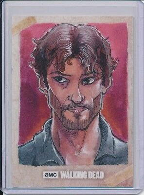 2017 Topps Walking Dead Season 7 Aaron Sketch by Preston Asevedo