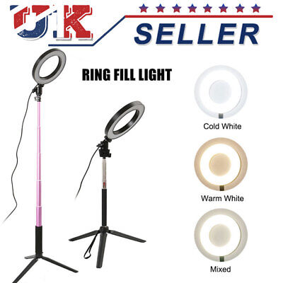 LED 3 Modes Dimmable Studio Camera Ring Lights Photo Phone Video Fill Lamp Black