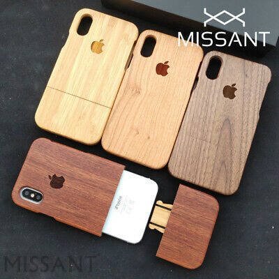 100% Natural Wood Bamboo Walnut Cherry Carved Logo Wooden Case For Apple iPhone