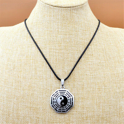 Retro Chinese Style Eight Trigrams Yin Yang Tai Chi Pendant Rope Chain Necklace