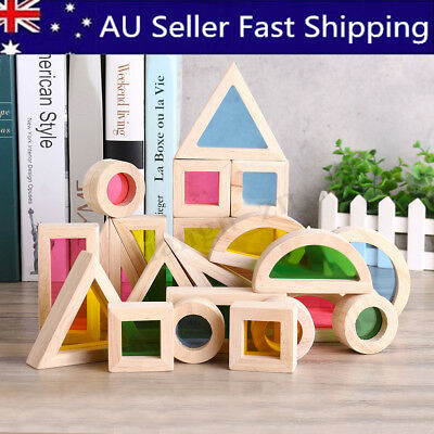 24Pcs Wooden Rainbow Blocks Construction Building Stacking Blocks Education Toy
