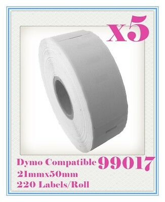 5 x Rolls Quality 99017 Label 50mm x 21mm/220 Per Roll for Dymo LabelWriter