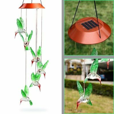 NEW Solar LED Color-Changing Hummingbird Wind Chime Yard Home Garden Decor Light