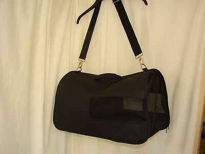 Black Fabric Pet Carrier - Bag Ideal For Dog, Cat or Small Pet