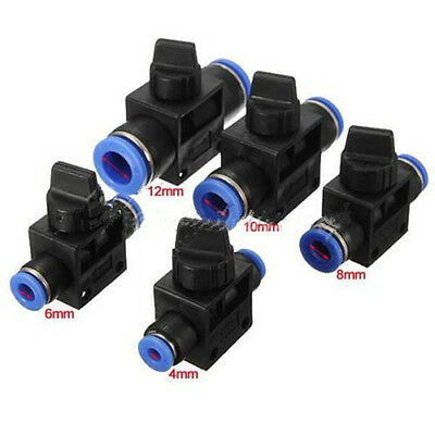 Pneumatic Ball Valve Push In Fittings/Connectors For Air/Water 4-12mm Hose Tube