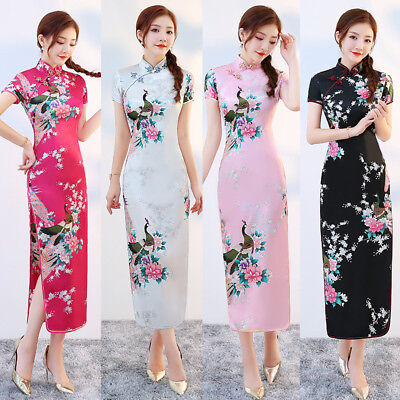Chinese Style Silk Satin Embroidered Floral Long Dress Cheongsam Qipao