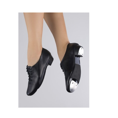 Black 1st position Black Oxford low heel Tap Shoes - heel and toe taps