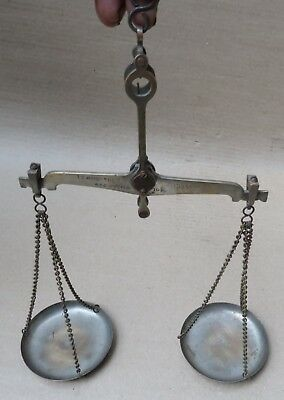 Vtg Weighing Scale hand balance pharma Jeweller To weigh 100 g Mini chrome brass