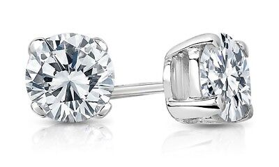 Round Created Diamond Push Back Stud Earrings White Gold Sterling Silver 2.00Ct