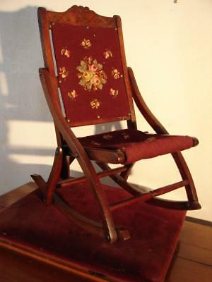 Unusual Antique Victorian Needlepoint Folding Small Child Or Doll Rocking Chair