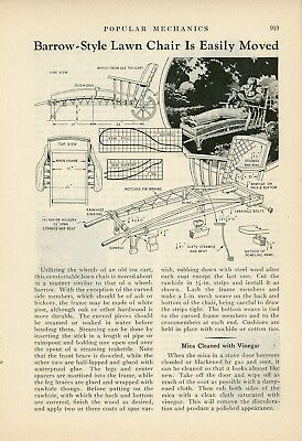 1933 How to Build Wheeled Lounge Chair for Yard Lawn Furniture Retro Vintage