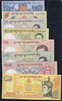 BHUTAN Full Set 1,5,10,20,50,100,500,1000 Ngultrum P-27 - P-34 2011-2016 UNC