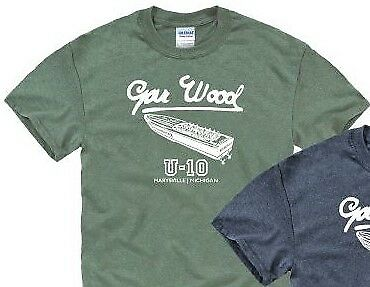 GAR WOOD BOATS, MISS AMERICA in military green short sleeve