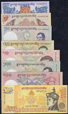 BHUTAN Full Set 1,5,10,20,50,100,500,1000 Ngultrum P-27 - P-34 2006-2015 UNC