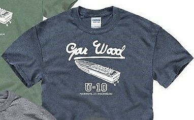 GAR WOOD BOATS, MISS AMERICA in heather navy short sleeve