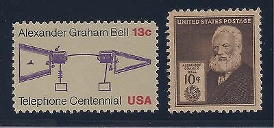 Alexander Graham Bell - Telephone Inventor - 2 U.s. Stamps - Mint Condition