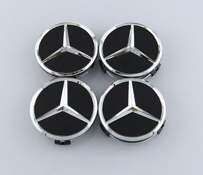 4PCS 75mm gloss Black Wheel Center Hub Cap Badge Emblem Rim Cover Mercedes Benz