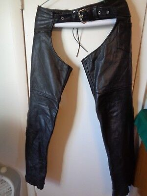 Interstate Black Leather Motorcycle Chaps Lined Good Shape Why Pay More?