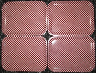 """4 Red Checkered Metal Lap Trays Vintage 13.75"""" x 10.375"""""""