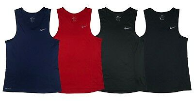 6de103bc23e2f5 Nike Mens Dri-Fit Miler Singlet Running Tank Top Shirt Red Blue Black