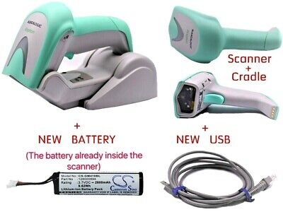 Datalogic Gryphon GM4400 Cradle Wireless Barcode Scanner BlueTooth + NEW BATTERY