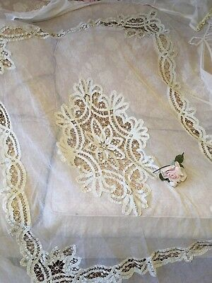 Antique French Tambour Lace Bedspread Cotton Netting Circa 1900 Off White #F22