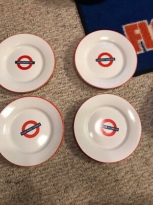 London Underground Stations, Lot Of 4 Ceramic Plates, Piccadilly Circus, Tube