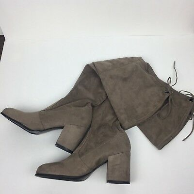 4815d24ea96 Steve Madden SLAYER Boots SZ 8.5 Pull On Beige Tie Top Heeled Round Toe OTK