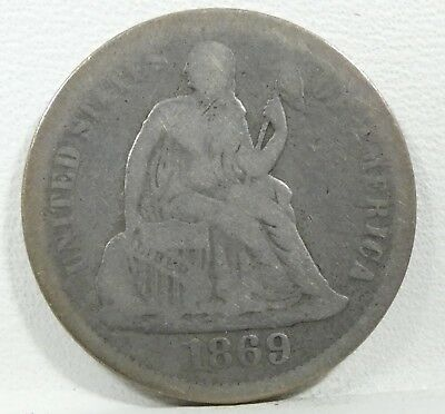 1869-S Liberty Seated Dime GOOD Silver 10c