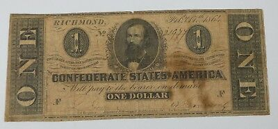 BARGAIN US Confederate Currency Dated February 17th,1864 $1 FINE T-71