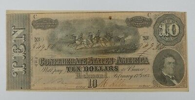BARGAIN US Confederate Currency Dated February 17th,1864 $10 ALMOST UNC T-68