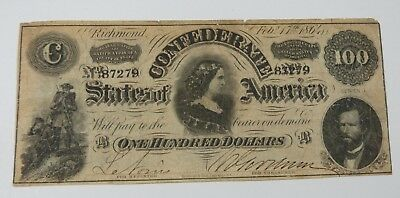 BARGAIN US Confederate Currency February 17th,1864 Series 1 $100 VERY FINE T-65
